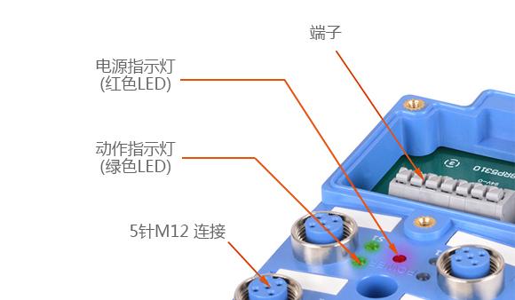端子, 电源指示灯(红色LED), 动作指示灯(绿色LED), 5针M12 连接
