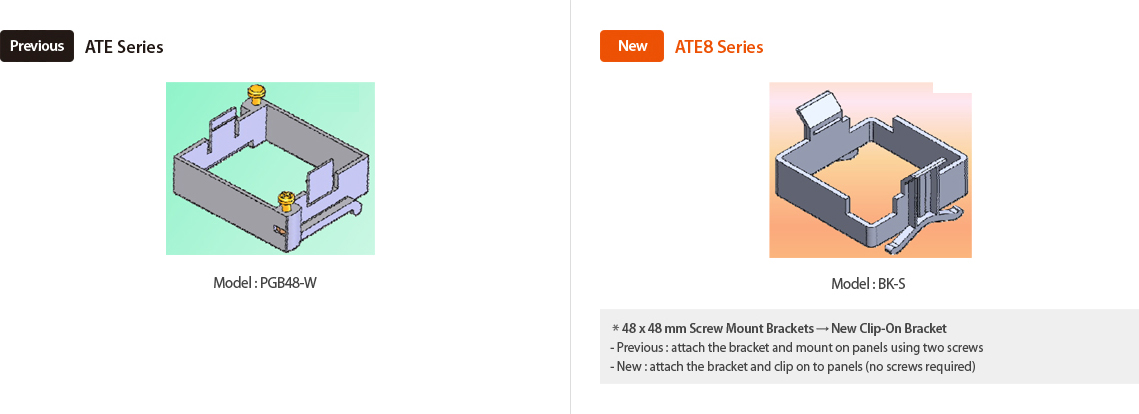 Previous : ATE Series Model : PG348-W, New : ATE8 Series Model:BK-S *48x48mm Screw Mount Brackets → New Clip-on Bracket -previous:attach the bracket and mount on panels using tow screws, -New:attach the bracket and clip on to panels (no screws required)