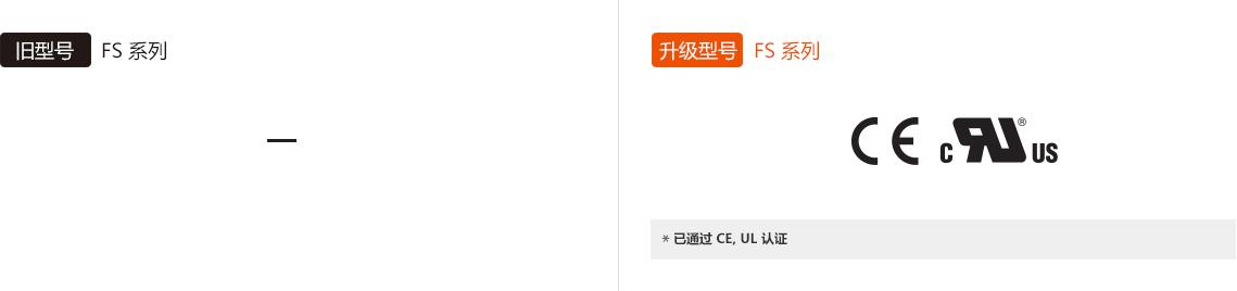 旧型号 : FS Series, 升级型号 : FS Series *已通过 CE, UL 认证