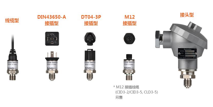 線纜型, DIN43650-A接插型, DT04-3P接插型, M12接插型(M12 接插線纜(CID3-2/CID3-5, CLD3-5)另售), 接頭型